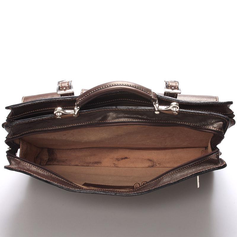Velice luxusní kožená aktovka Placid, hnědá
