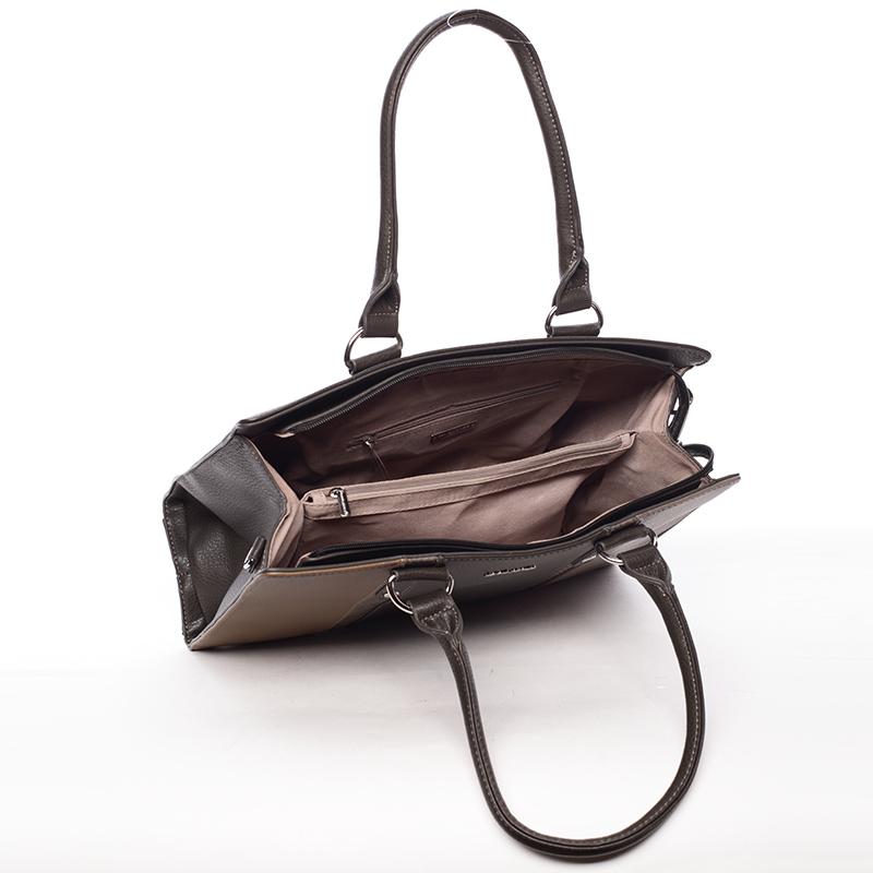Velmi stylová kabelka do ruky Adolfo,  tmavý camel-khaki