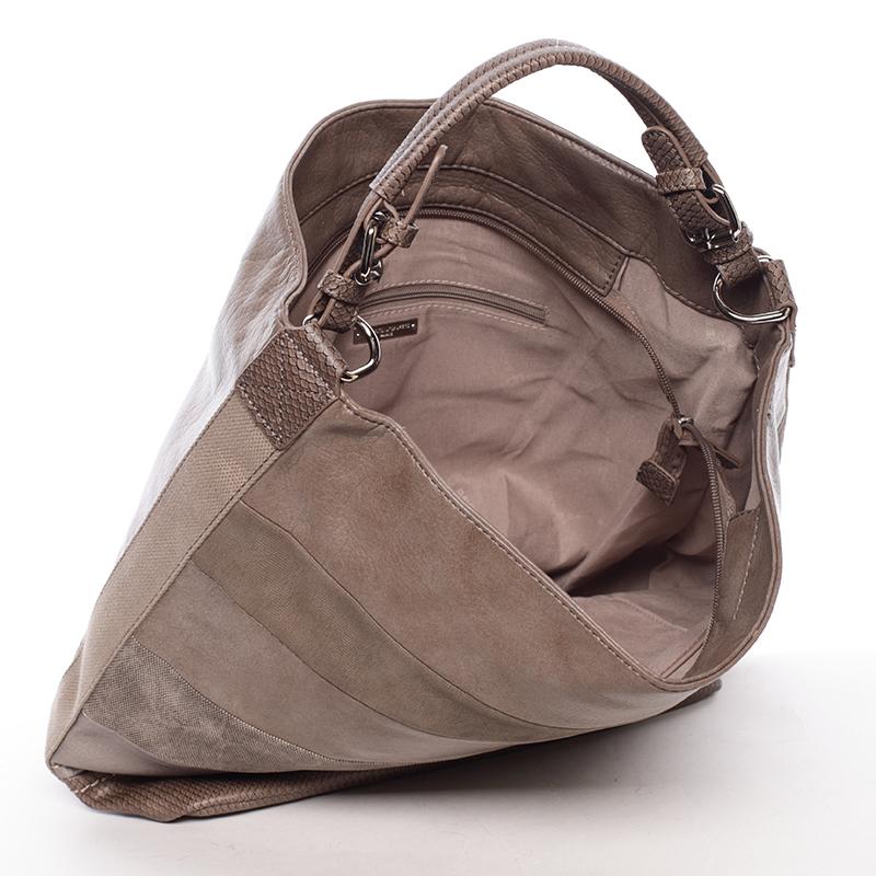 Stylová kabelka přes rameno Iskra, tmavě béžová