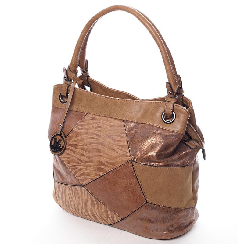 Vzorovaná kabelka do ruky Estrella, hnědá