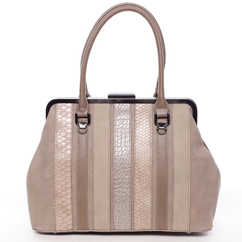 Luxusní kabelka do ruky PAULETTE, tmavě béžová