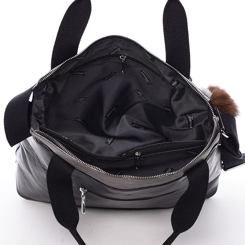 Dámská Karen Olivia kabelka do ruky i přes rameno, černo-stříbrná