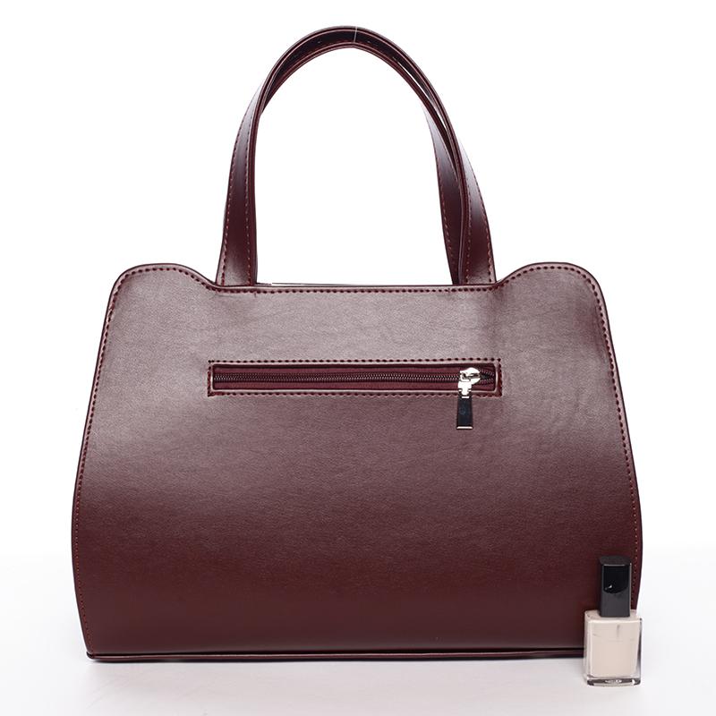 Luxusní kabelka do ruky Janet, bordó hrubá