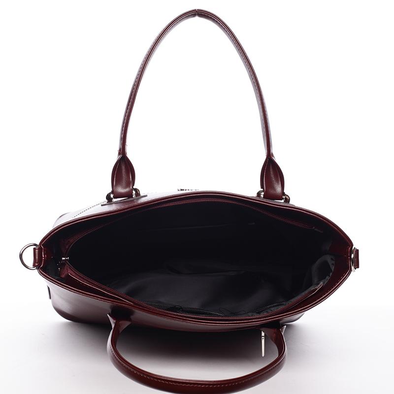 Dámská luxusní kabelka přes rameno Amanda, bordó hrubá