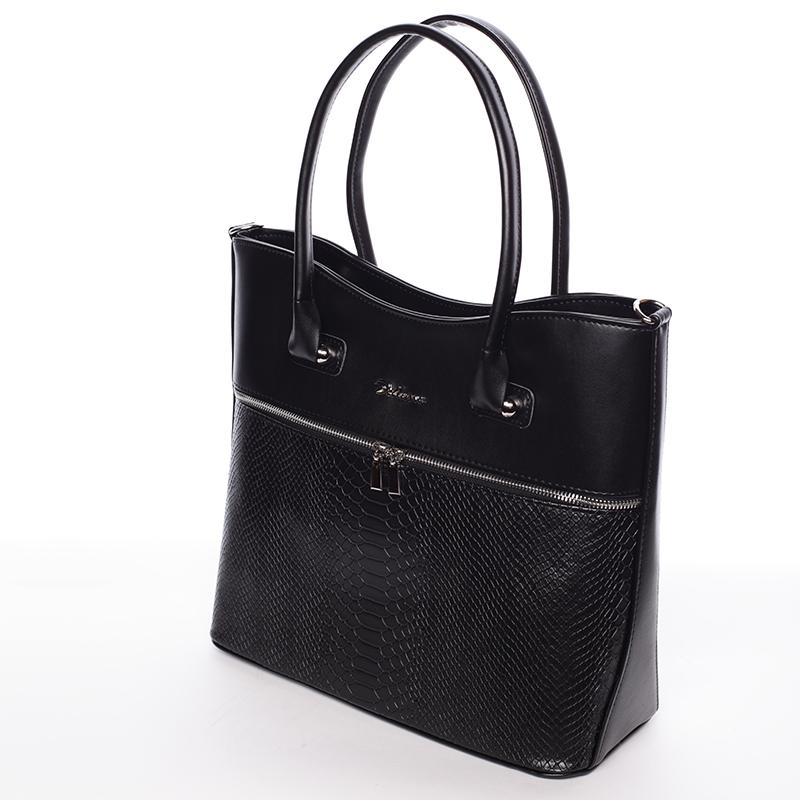Dámská luxusní kabelka přes rameno Amanda, černá hrubá