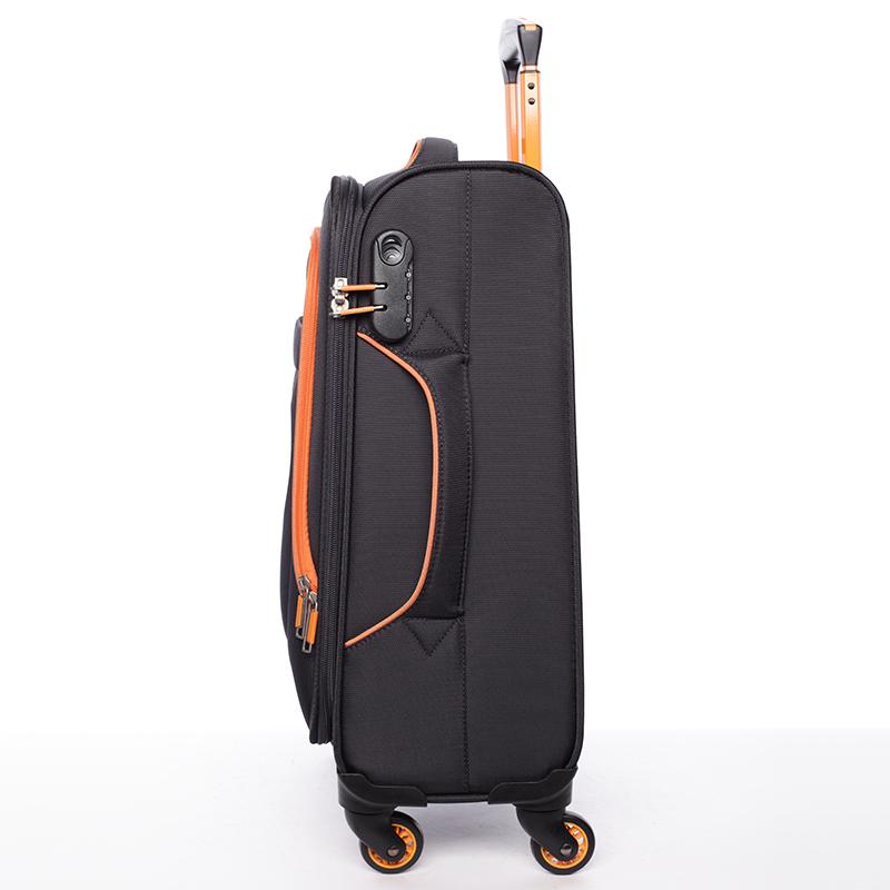 Látkový cestovní kufr Mahel vel. I, 4 kolečka, černo-oranžový