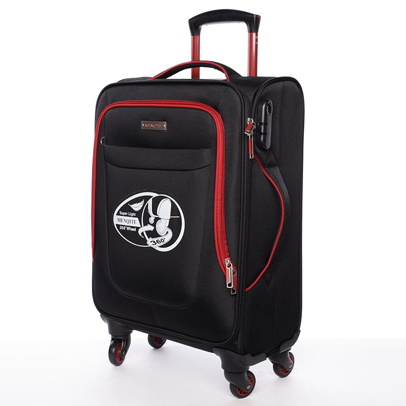Látkový cestovní kufr Mahel vel. I, 4 kolečka, černo-červený
