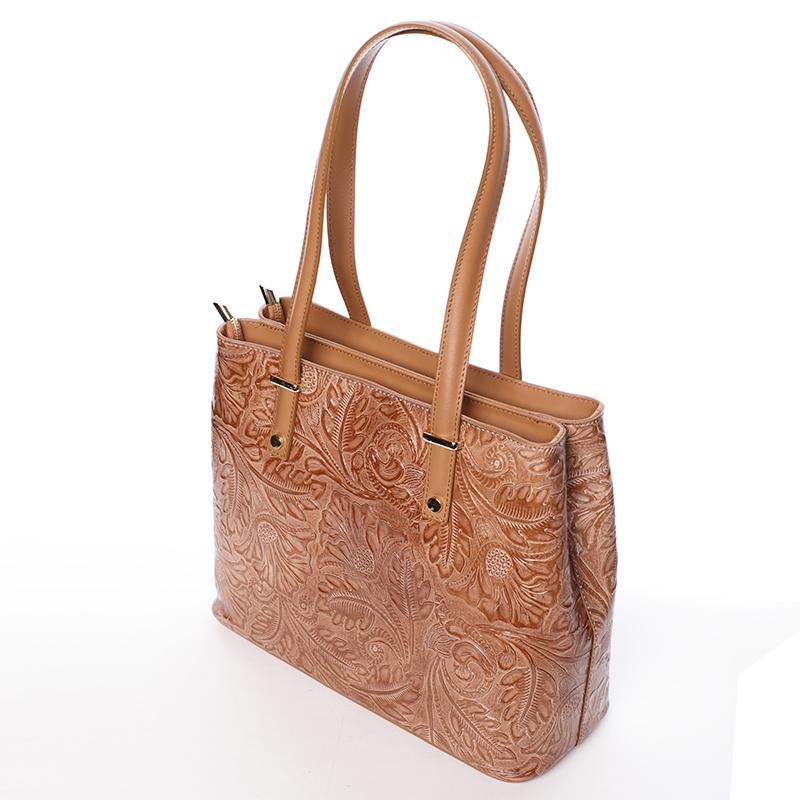 Módní kožená kabelka se vzory Tatum, koňaková new