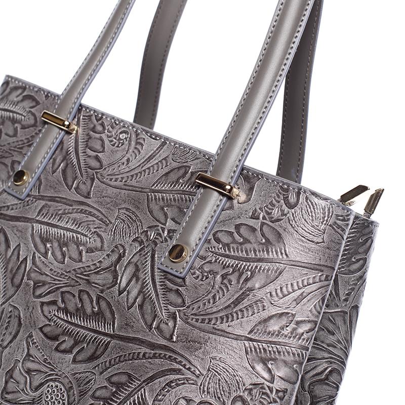 Módní kožená kabelka se vzory Tatum, tmavě šedá
