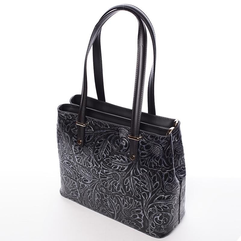 Módní kožená kabelka se vzory Tatum, černo-stříbrná