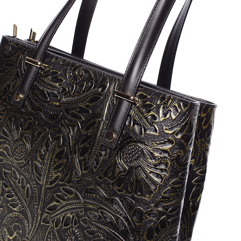 Módní kožená kabelka se vzory Tatum, černo-zlatá