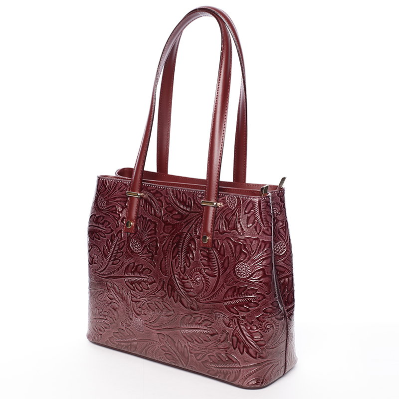 Módní kožená kabelka se vzory Tatum, bordó
