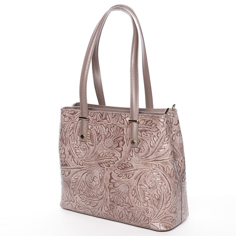 Módní kožená kabelka se vzory Tatum, tmavý oříšek