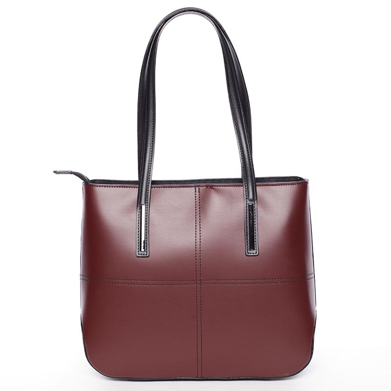 Dámská elegantní kožená kabelka Kierra, bordó-černá