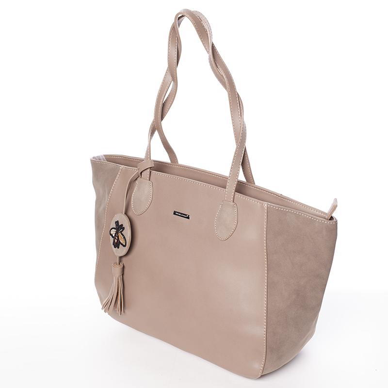Designová dámská shopping kabelka do ruky David Jones Angela, camel