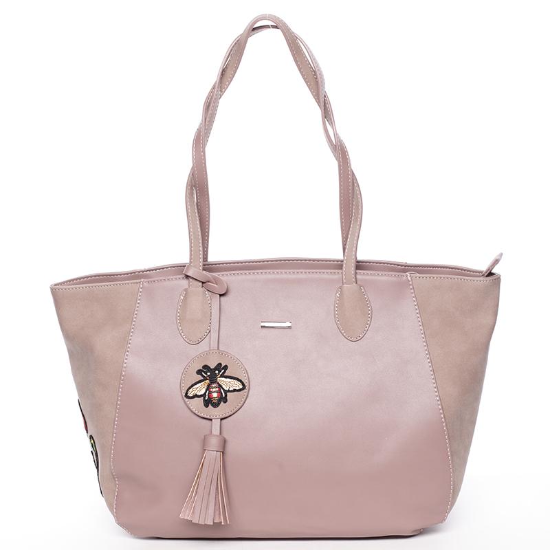 Designová dámská shopping kabelka do ruky David Jones Angela, tmavě růžová