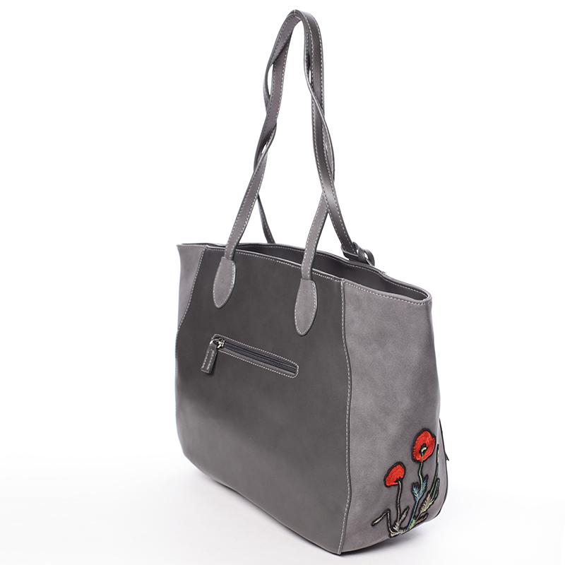 Designová dámská shopping kabelka do ruky David Jones Angela, tmavě šedá