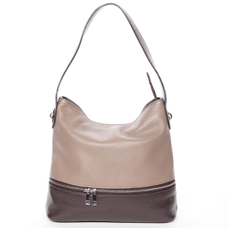 Kožená kabelka Eva, khaki-hnědá
