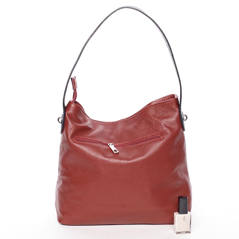 Kožená kabelka Eva, bordó-černá