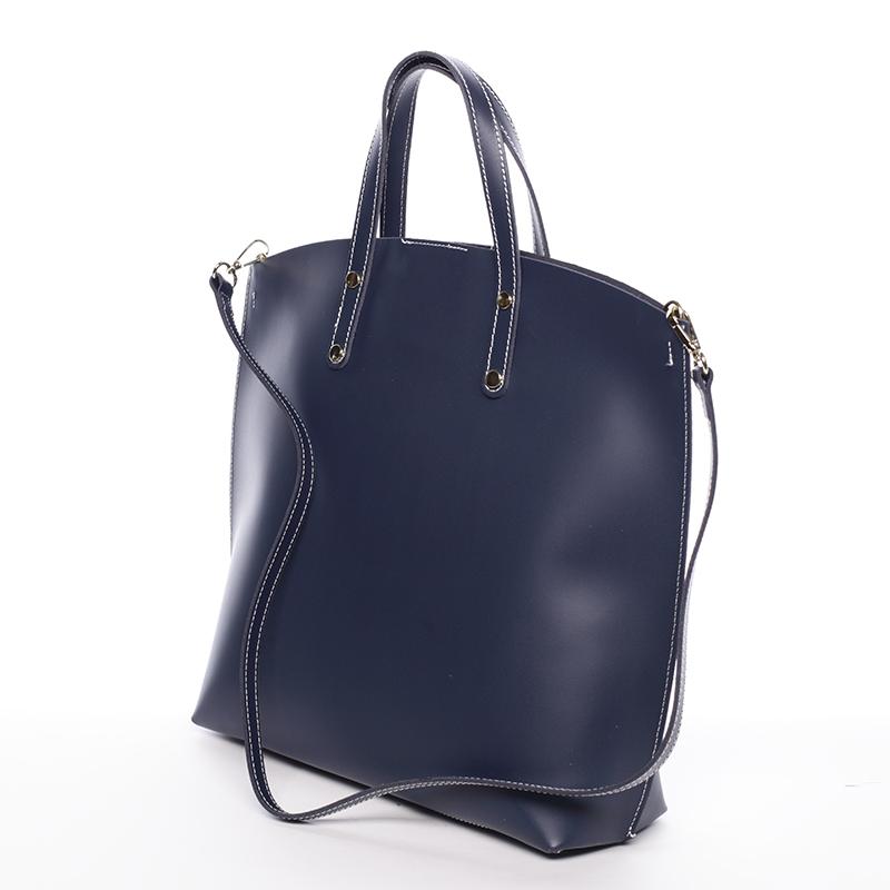 Atraktivní kožená kabelka Bailey, tmavě modrá