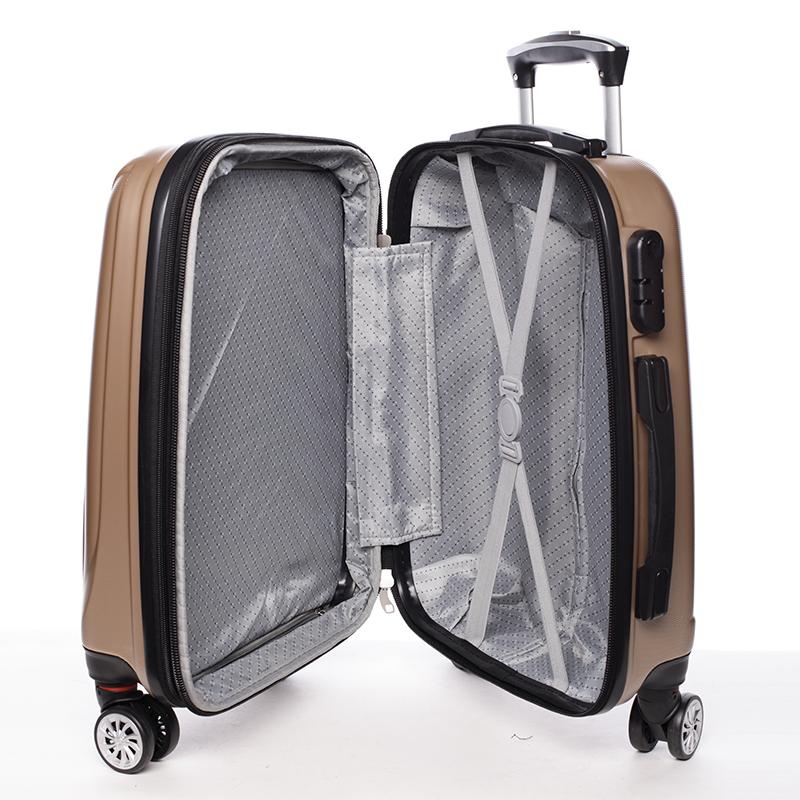 Cestovní módní kufr 4 kolečka, vel. I, zlatý