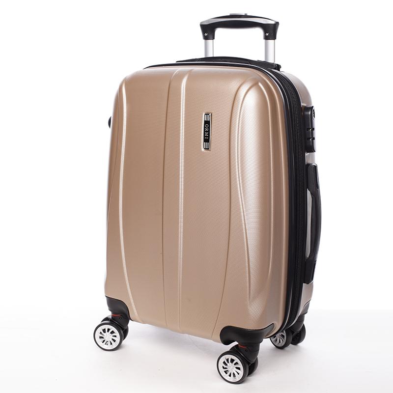 Cestovní módní kufr 4 kolečka, vel. II, zlatý