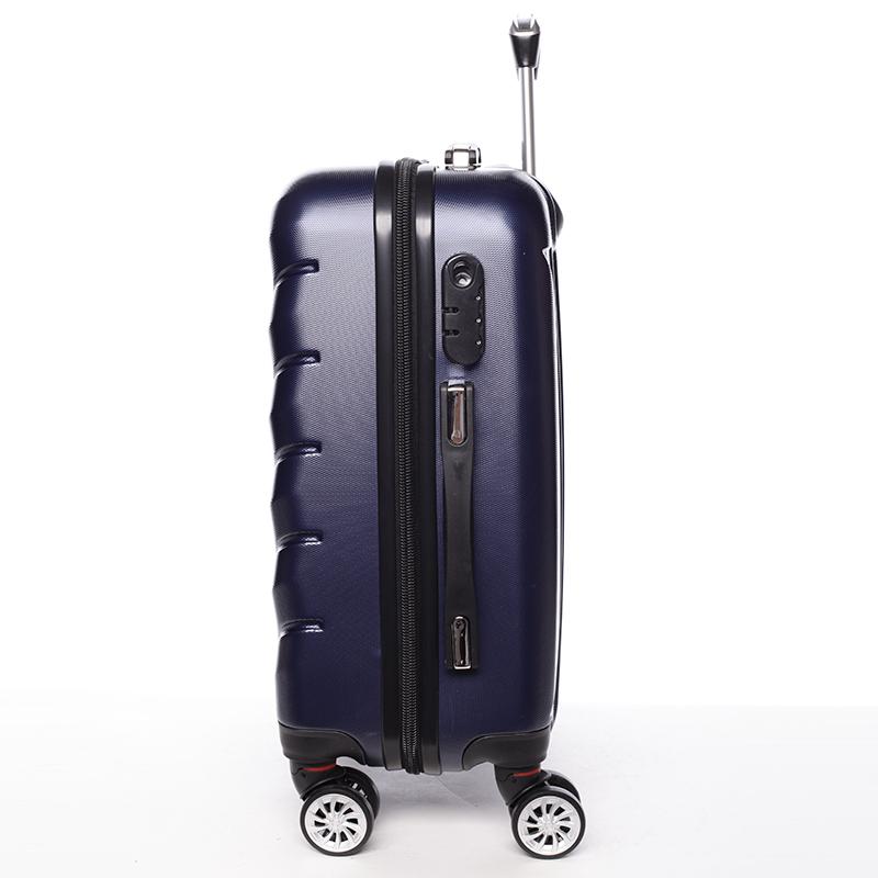 Cestovní stylový kufr 4 kolečka, vel. II, tmavě modrý