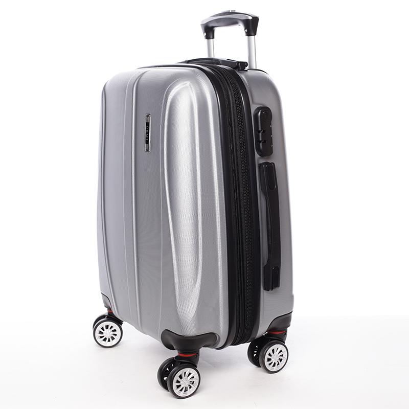 Cestovní stylový kufr 4 kolečka, vel. I, stříbrný