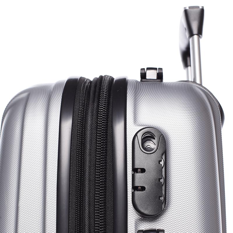 Cestovní stylový kufr 4 kolečka, vel. II, stříbrný