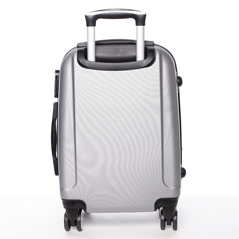 Cestovní stylový kufr 4 kolečka, vel. III, stříbrný