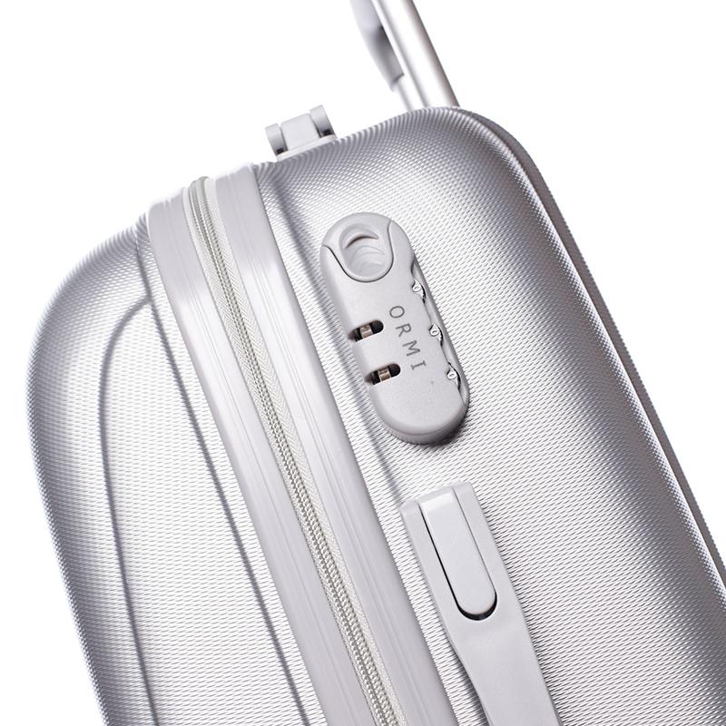 Stříbný cestovní kufr ORMI, 4 kolečka, vel. I