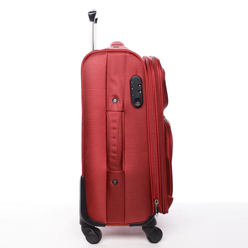 Látkový cestovní kufr ORMI červený, vel. II, 4. kolečka