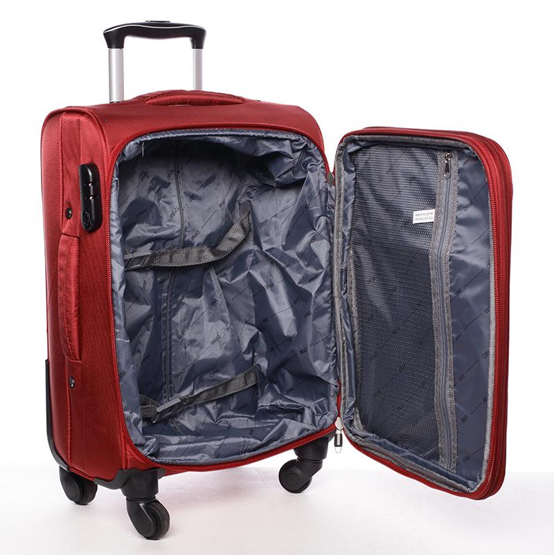 Látkový cestovní kufr ORMI červený, vel. III, 4. kolečka