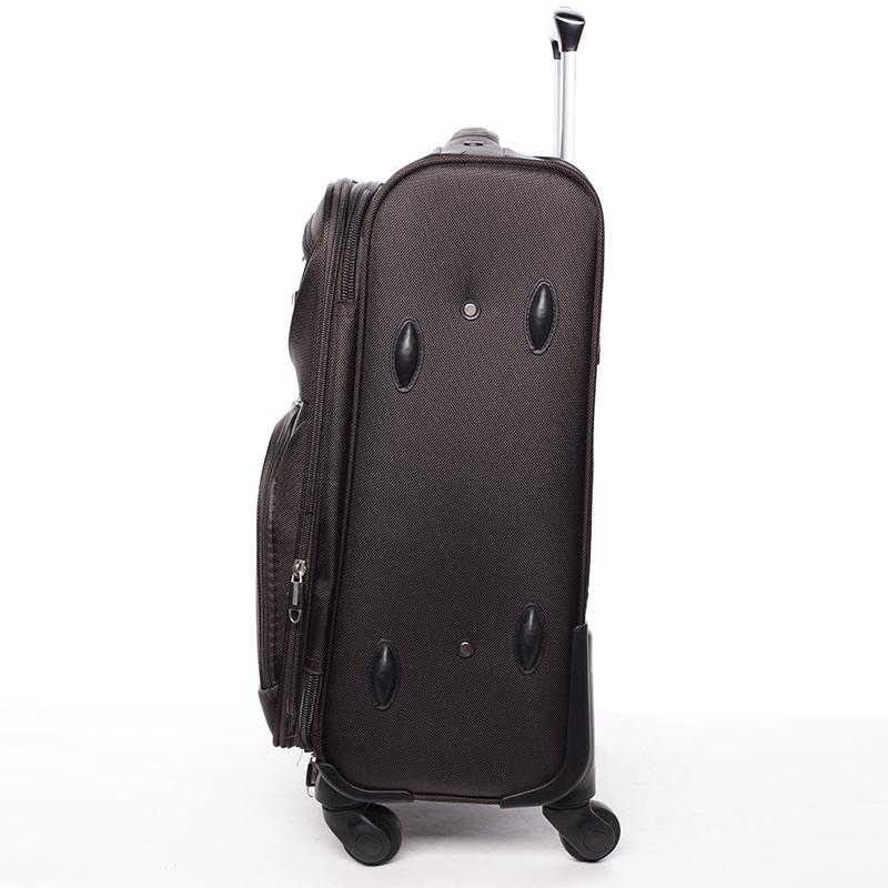 Látkový cestovní kufr ORMI kávový, vel. III, 4. kolečka