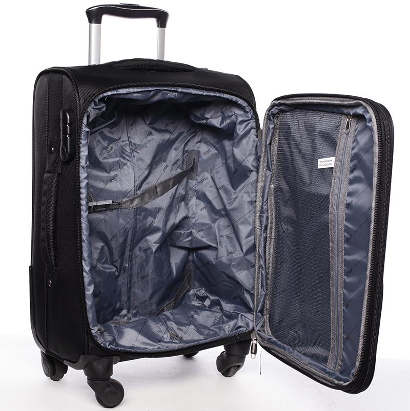 Látkový cestovní kufr ORMI černý, vel. II, 4. kolečka
