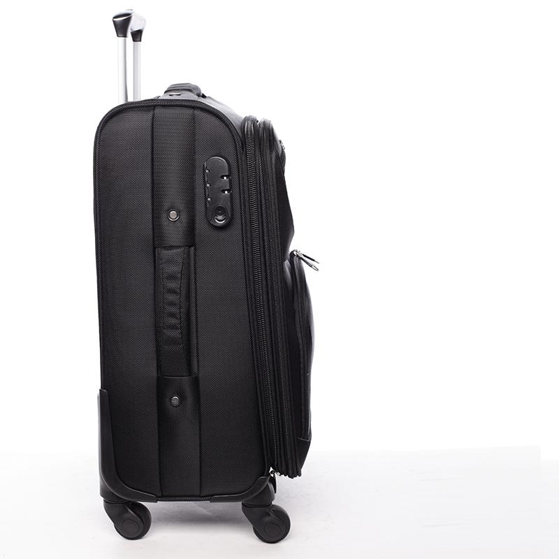 _Látkový cestovní kufr ORMI černý, vel. III, 4. kolečka