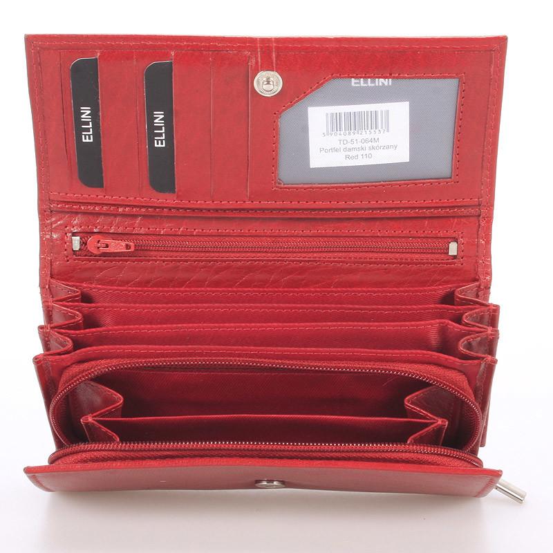 Dámská kožená červená peněženka Ellini London