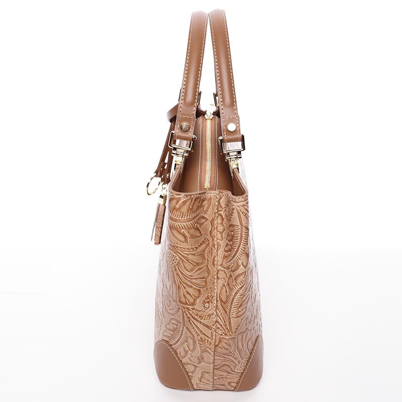 Luxusní kožená kabelka se vzory Raina, koňaková