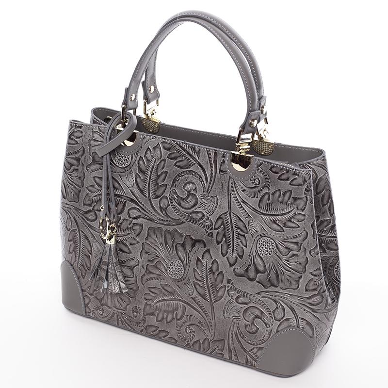 Luxusní kožená kabelka se vzory Raina, šedá