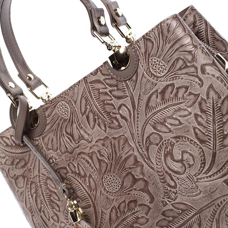Luxusní kožená kabelka se vzory Raina, tmavý oříšek