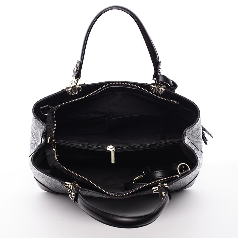 Luxusní kožená kabelka se vzory Raina, černo-stříbrná
