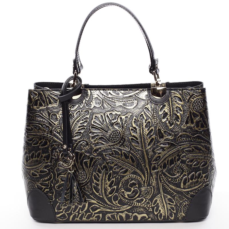 Luxusní kožená kabelka se vzory Raina, zlato-stříbrná
