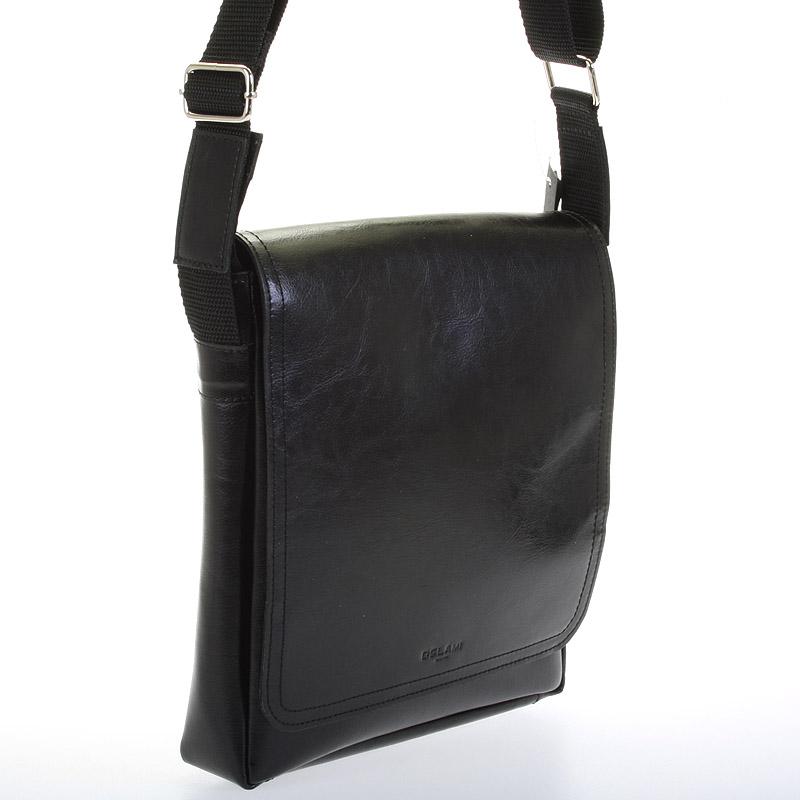 Pánská kožená taška přes rameno DELAMI Fragment, černá