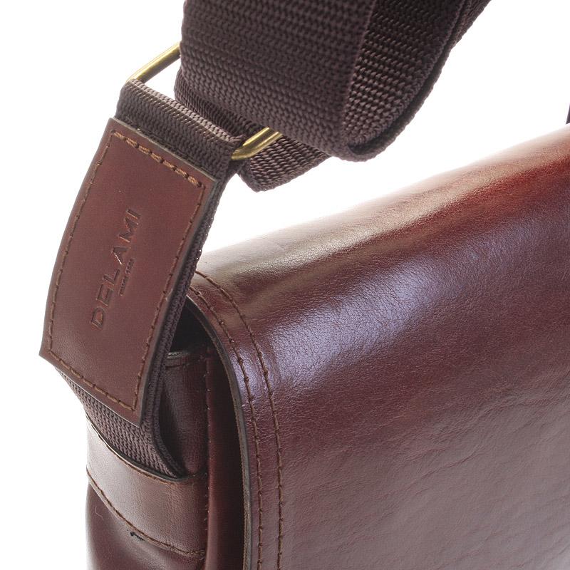 Pánská kožená taška přes rameno DELAMI Fragment, hnědá
