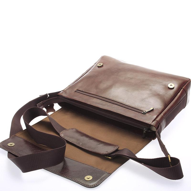 Pánská kožená taška přes rameno DELAMI Fragment, široká hnědá