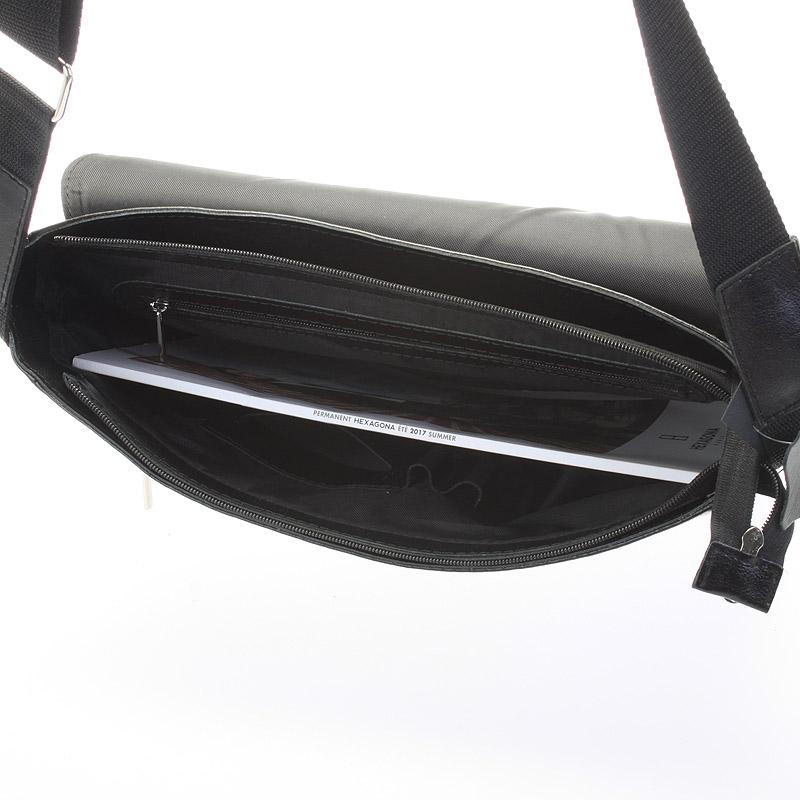 Pánská kožená taška přes rameno DELAMI Fragment, široká černá