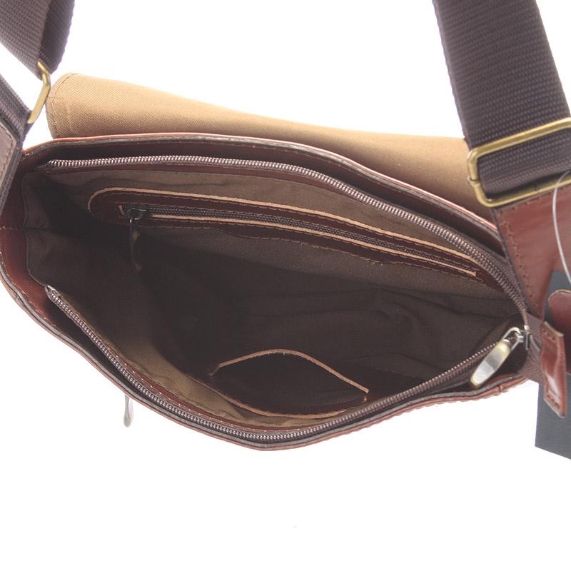 Pánská kožená taška přes rameno DELAMI Caesar, hnědá