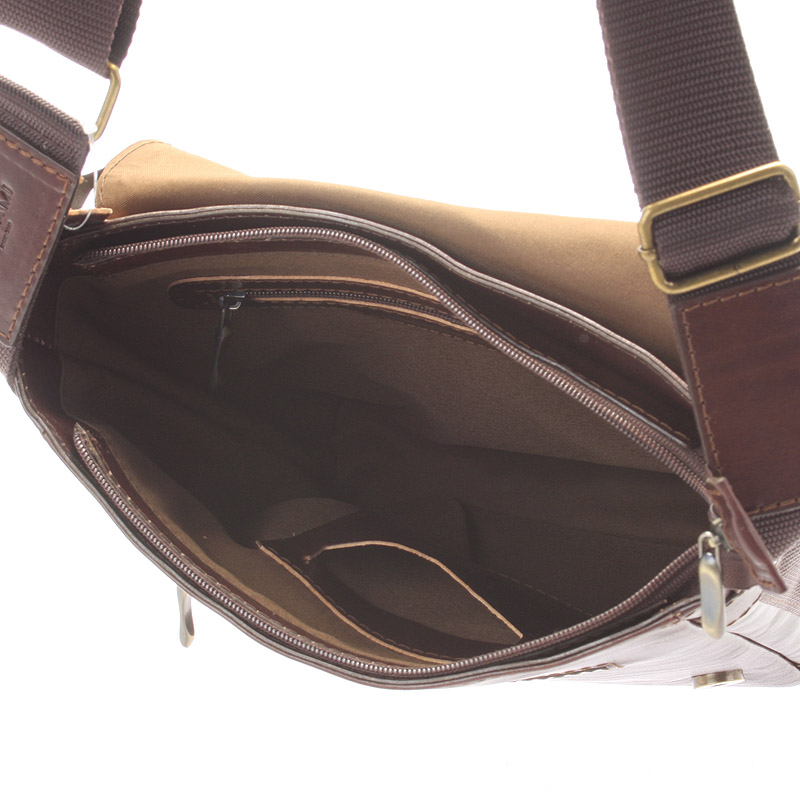 Pánská kožená taška přes rameno DELAMI Caesar, tmavě hnědá