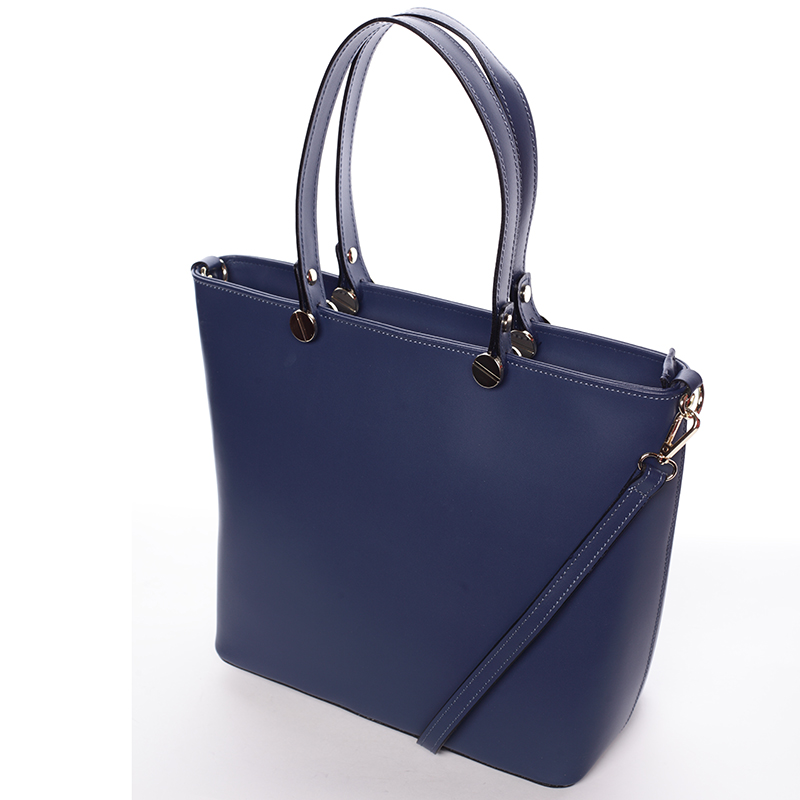 Modrá luxusní kožená velká kabelka Azra