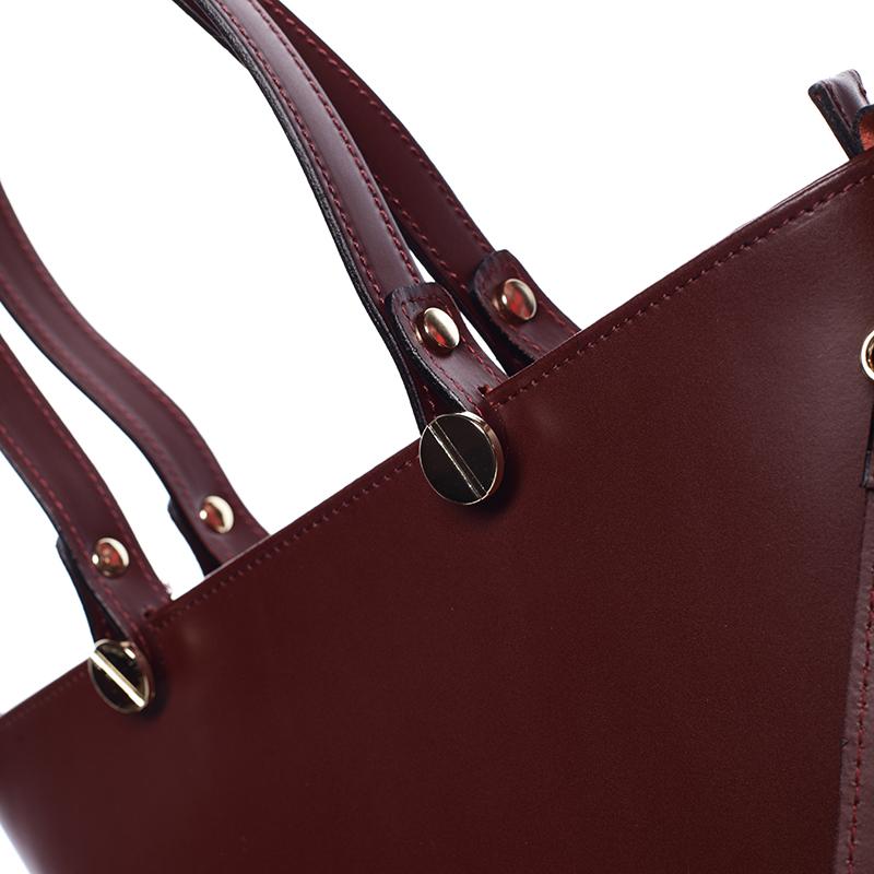 Bordo luxusní kožená velká kabelka Azra